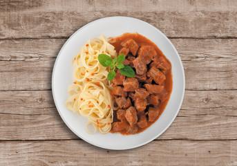 Goulash soup with spaghetti