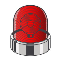 Red emergency siren isolated on a white background