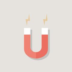 Red Magnet over light grey