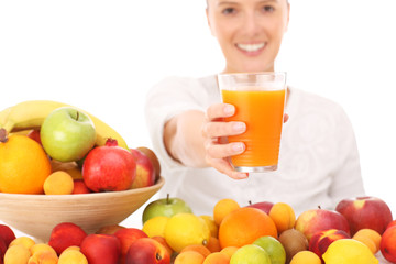 Woman and fruit juice