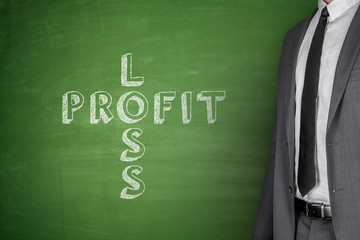 Loss & profit on blackboard