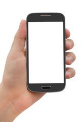 Beyaz ekranlı siyah akıllı telefon