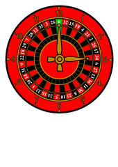 A clock face vector with roulette wheel design