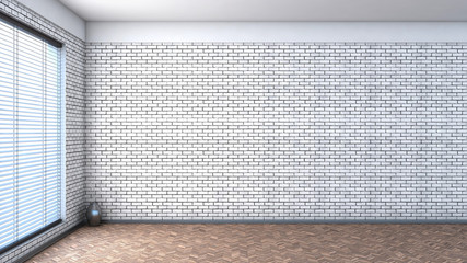 white empty interior with blinds and brick wall