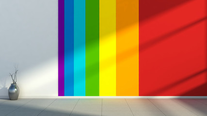 Interior with the colors of the rainbow