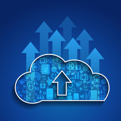 Upload cloud computing with Social network background.