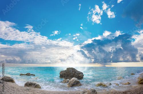 Leinwanddruck Bild The famous Kathisma beach in Lefkada