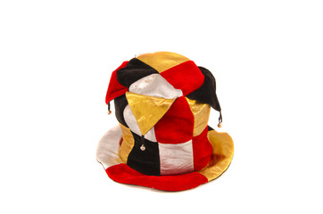 colorful clown harlequin cap isolated on white