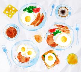 Breakfasts set eggs watercolor