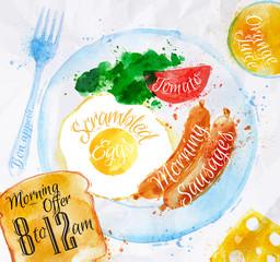 Breakfast watercolors sausage eggs