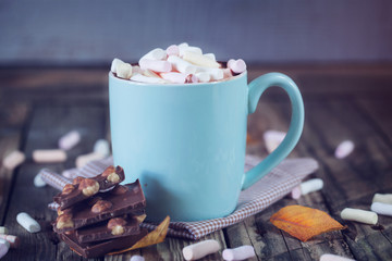 Mug filled with hot chocolate and marshmallow, with chocolate, t