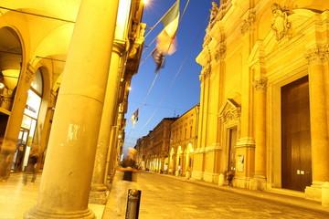 Via Independenza at dusk in Bologna Emilia Romagna Italy