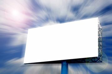 Blank Billboard on blue sky in motion blur