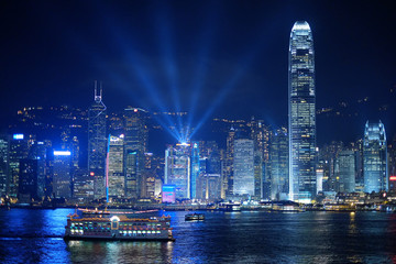 hongkong night and lightshow