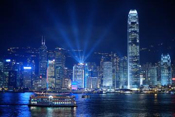 hongkong night and lightshow