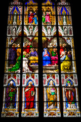 COLOGNE, GERMANY - SEPTEMBER 21: Stained glass church window wit