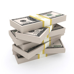 Stack of 100 dollars USA on white background.
