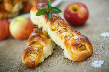 baked braided pigtails with apples
