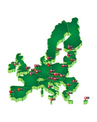 Capitals of the European Union on green map