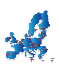 Capitals of the European Union on blue map