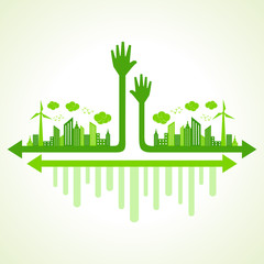 Ecology concept with helping hand - vector illustration