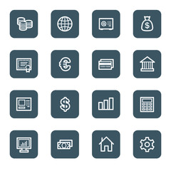 Money web icons, navy square buttons