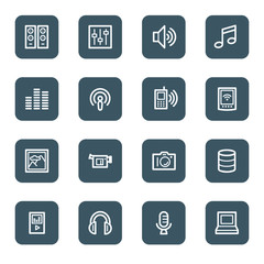 Media web icons, navy square buttons