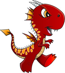 Angry Red Dragon Illustration Art