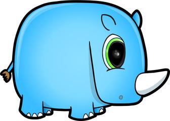 Cute Blue Safari Rhino Vector Illustration Art