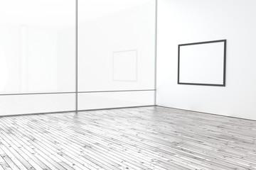 Raum leer hell modern mit Bilderrahmen Holzboden