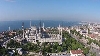 aerial istanbul turkey blue mosque sultanahmet cami