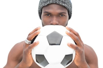 Close up portrait of a serious football fan