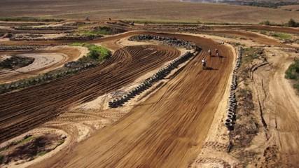 Aerial of Dirt Bikes Ramping