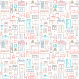 Fototapety Vector seamless pattern with hand drawn furniture elements