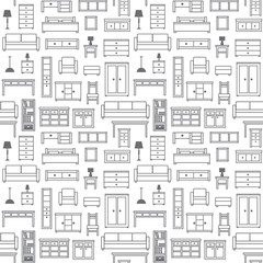 Vector seamless pattern background with furniture