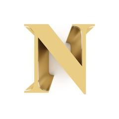 Golden letter N on white background