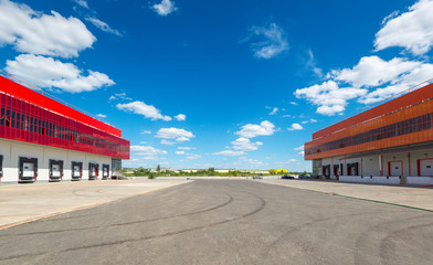 Warehouses on a background of blue sky