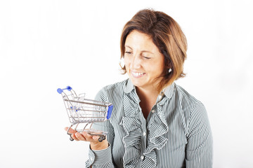 Woman with shopping cart in hand