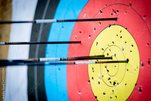 The archer has shot a lot of arrows in the target - 70526284