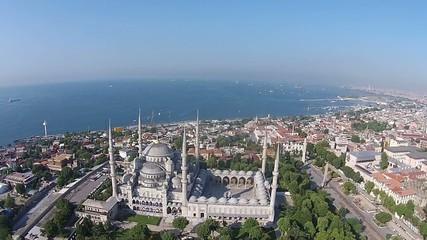 aerial istanbul turkey blue mosque sultanahmet cami sultan ahmet