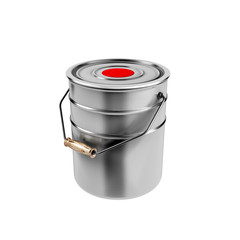 Container with red paint