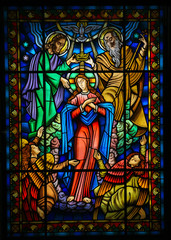 Mother Mary and the Holy Trinity - Stained Glass