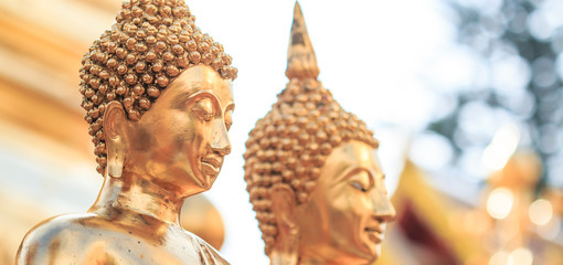 Golden Buddha statue at the temple, Thailand