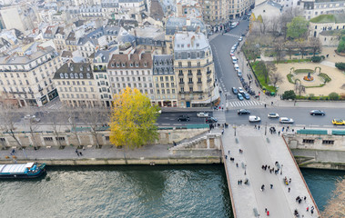 Paris, France. Beautiful city aerial view from the top of Notre