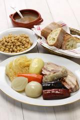 cocido madrileno, chickpea and pork stew, spanish cuisine
