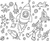 Outer Space Doodle Vector Illustration Art Set - 70529071