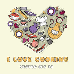 Vector stylized heart with cartoon kitchen ware