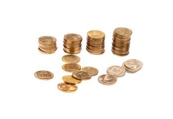 Golden coins in piles
