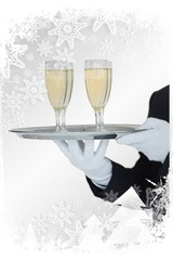 Composite image of waiter holding tray of champagne flutes