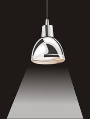 hanging chrome lamp at dark night